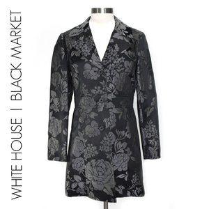 WHBM Black Metallic Floral Brocade Long Jacket